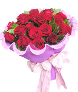 12 adet kırmızı gülden görsel buket  Bursa çiçek siparişi