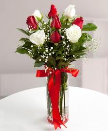 5 kırmızı 4 beyaz gül vazoda  Bursa çiçek ucuz çiçek gönder
