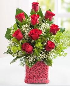 Cam içerisinde 9 adet kırmızı gül  Bursa çiçek siparişi