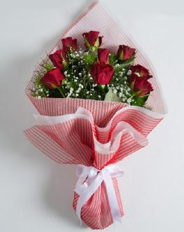 9 adet kırmızı gülden buket  Bursa çiçekçi inegöl kaliteli taze ve ucuz çiçekler