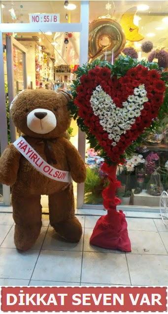 1.5 Metre peluş ayı ve Kalp  Çiçekçi Bursa sitesi nilüfer anneler günü çiçek yolla