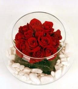 Cam fanusta 11 adet kırmızı gül  Bursa çiçek iznik çiçek online çiçek siparişi