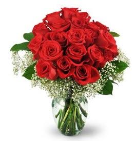 25 adet kırmızı gül cam vazoda  Bursa çiçek büyük orhan yurtiçi ve yurtdışı çiçek siparişi
