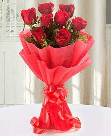 9 adet kırmızı gülden modern buket  Bursa çiçekçiler nilüfer cicekciler , cicek siparisi