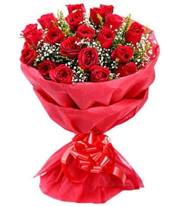 21 adet kırmızı gülden modern buket  Bursa çiçek iznik çiçek online çiçek siparişi