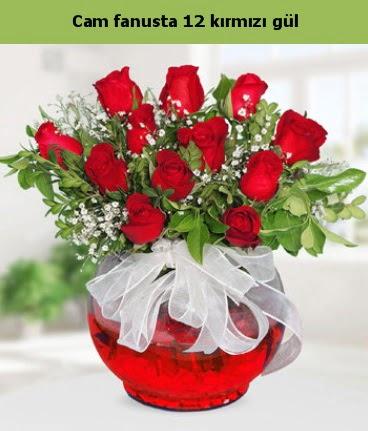 Cam içerisinde 12 adet kırmızı gül  Bursa çiçek siparişi