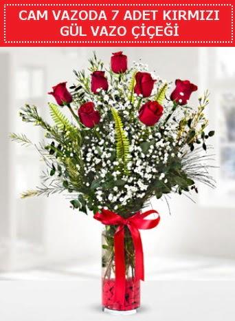 Cam vazoda 7 adet kırmızı gül çiçeği  Çiçekçi Bursa sitesi nilüfer anneler günü çiçek yolla