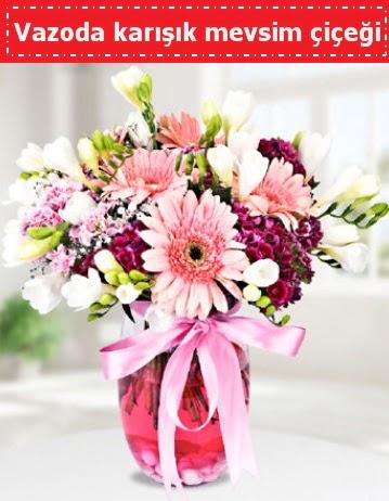 Vazoda karışık mevsim çiçeği  Bursa çiçek büyük orhan yurtiçi ve yurtdışı çiçek siparişi