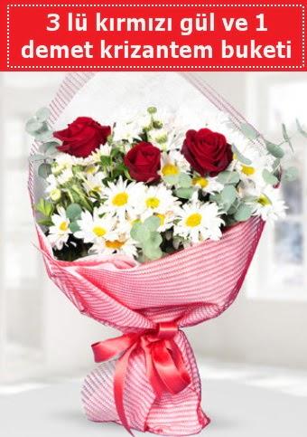 3 adet kırmızı gül ve krizantem buketi  Çiçekçi Bursa sitesi nilüfer anneler günü çiçek yolla