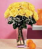 Bursa çiçek siparişi  9 adet sari güllerden cam yada mika vazo