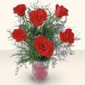 Bursa çiçek ucuz çiçek gönder  cam yada mika vazoda 6 adet kirmizi gül