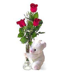 oyuncak ve 3 adet gül  Online Bursa çiçekçi