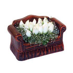 seramik içerisinde 11 gül  Bursa çiçek satışı Bursa çiçek yolla