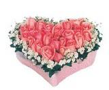 kalp içerisinde 9 adet pembe gül  Bursa çiçekçi inegöl kaliteli taze ve ucuz çiçekler