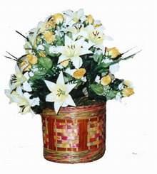 yapay karisik çiçek sepeti   Bursa çiçek ucuz çiçek gönder