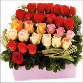15 adet renkli gül ve cam   Bursa çiçek siparişi