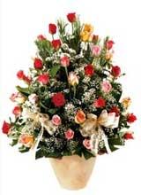 91 adet renkli gül aranjman   Çiçekçi Bursa sitesi nilüfer anneler günü çiçek yolla