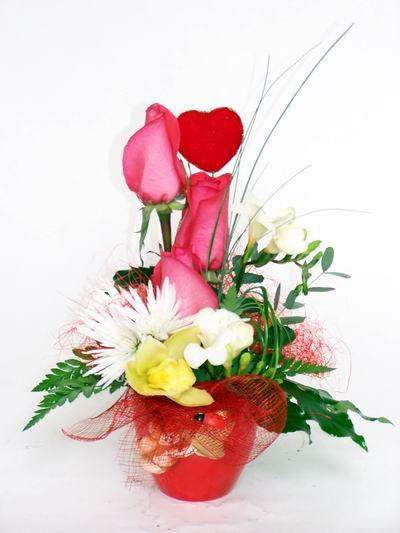 Bursa çiçek yolla osmangazi online çiçekçi , çiçek siparişi  cam içerisinde 3 adet gül ve kir çiçekleri