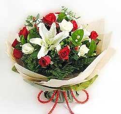 güller ve kazablanklardan görsel bir buket  Bursa çiçek siparişi