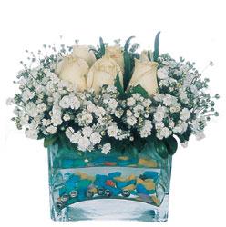 Bursa çiçek siparişi  mika yada cam içerisinde 7 adet beyaz gül