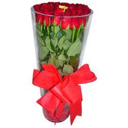 Bursa çiçekçiler orhaneli çiçekçiler  12 adet kirmizi gül cam yada mika vazo tanzim