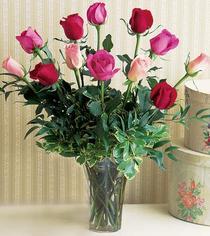 Bursa çiçek mustafa kemal paşa çiçek siparişi sitesi  12 adet karisik renkte gül cam yada mika vazoda