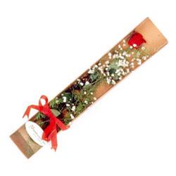 Bursa çiçek büyük orhan yurtiçi ve yurtdışı çiçek siparişi  Kutuda tek 1 adet kirmizi gül çiçegi