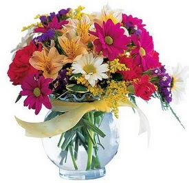 Bursa çiçek siparişi  cam yada mika içerisinde karisik mevsim çiçekleri