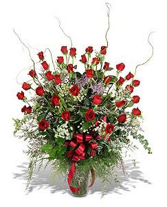 Online Bursa çiçekçi  33 adet kirmizi gül vazo içerisinde