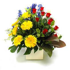 Çiçekçi Bursa sitesi orhangazi çiçek satışı  9 adet gül ve kir çiçekleri cam yada mika vazoda