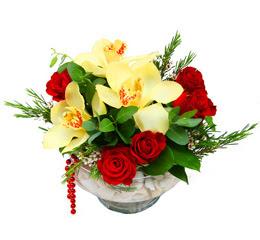 Bursa çiçek iznik çiçek online çiçek siparişi  1 adet orkide 5 adet gül cam yada mikada
