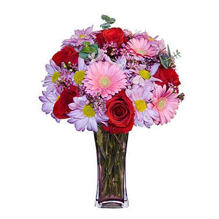 Görsel hediye karisik cam mevsim demeti  Bursa çiçek siparişi