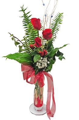 Çiçek gönderin cam vazoda 3 gül çiçekleri  Online Bursa çiçekçi