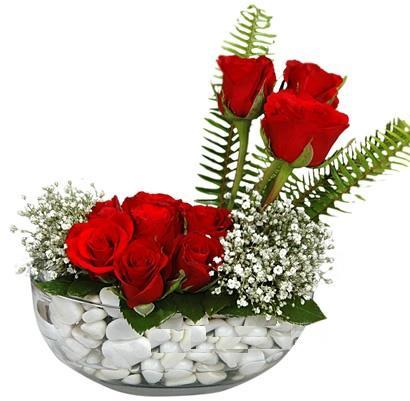 cam içerisinde 9 adet kirmizi gül  Bursa çiçek karacabey çiçekçi telefonları