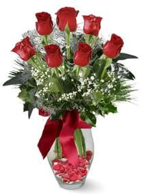 7 adet vazoda gül  Bursa çiçek siparişi  kirmizi gül