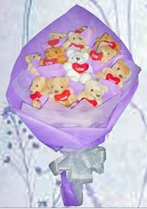 12 adet ayiciktan buket tanzimi  Bursa çiçek kestel uluslararası çiçek gönderme