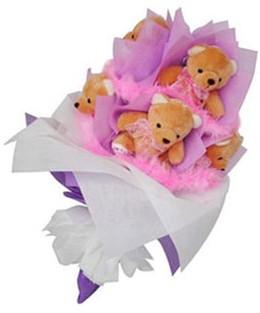 9 adet ayiciktan buket  Bursadaki çiçek cicek , cicekci