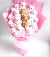 17 adet pelus ayicik buketi  Bursa çiçekçiler nilüfer cicekciler , cicek siparisi