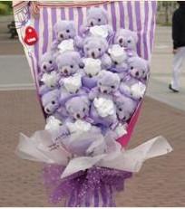 11 adet pelus ayicik buketi  Çiçekçi Bursa sitesi nilüfer anneler günü çiçek yolla