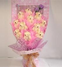 11 adet pelus ayicik buketi  Bursa çiçek satışı iznik hediye sevgilime hediye çiçek