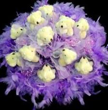11 adet pelus ayicik buketi  Bursa çiçek büyük orhan yurtiçi ve yurtdışı çiçek siparişi
