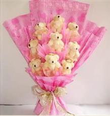 9 adet pelus ayicik buketi  Çiçekçi Bursa sitesi nilüfer çiçek siparişi vermek