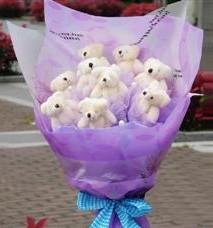 11 adet pelus ayicik buketi  Bursa çiçek yolla osmangazi online çiçekçi , çiçek siparişi