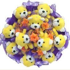 11 adet pelus ayicik buketi  Bursa çiçek mustafa kemal paşa çiçek siparişi sitesi