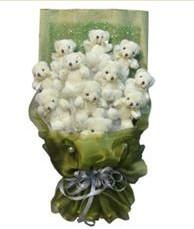 11 adet pelus ayicik buketi  Çiçekçi Bursa sitesi orhangazi çiçek satışı