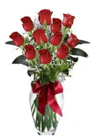 11 adet kirmizi gül vazo mika vazo içinde  Çiçekçi Bursa sitesi gemlik güvenli kaliteli hızlı çiçek
