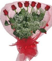 7 adet kipkirmizi gülden görsel buket  Bursa çiçek mustafa kemal paşa çiçek siparişi sitesi