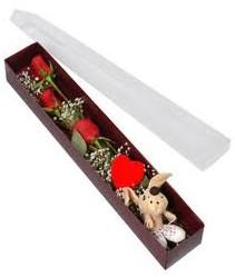 kutu içerisinde 3 adet gül ve oyuncak  Bursa çiçek ucuz çiçek gönder