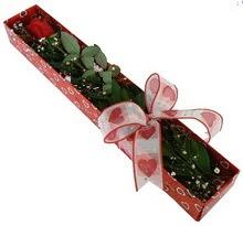 Tek kirmizi gül kutu içerisinde  Bursa çiçek kestel uluslararası çiçek gönderme