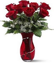 Vazo içinde 8 adet kirmizilar içinde güller  Bursadaki çiçekçi bursaya çiçek